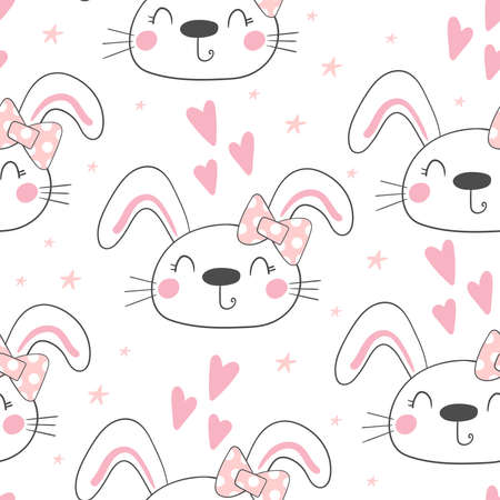 Seamless pattern with cute little bunny. vector illustration. Vector print with rabbit