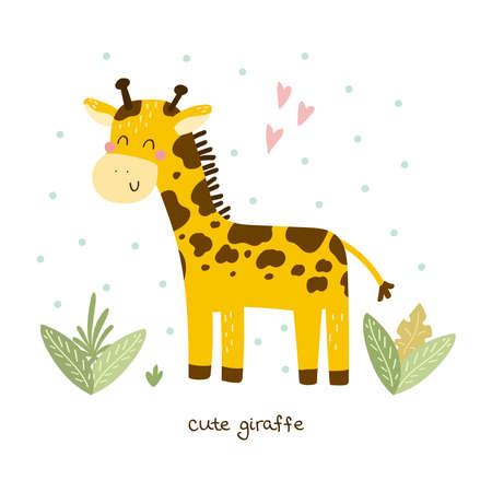 Cute giraffe print for kids. Funny cute giraffe cartoon style. Printable templates Illustration