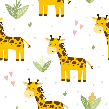 Cute print with giraffe. Seamless pattern. Printable templates. Illustration