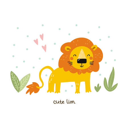 Funny cute lion cartoon style. Vector print with lion. Printable templates