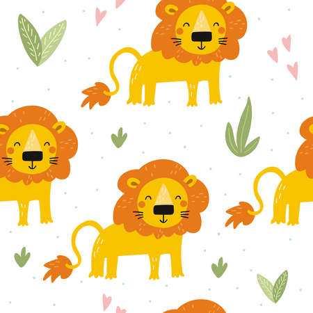 Cute little lion cartoon style. Seamless pattern. Printable templates