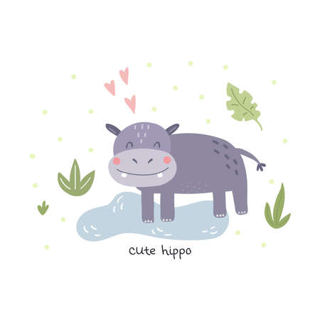 Funny cute hippo cartoon style. Vector print with lion. Printable templates