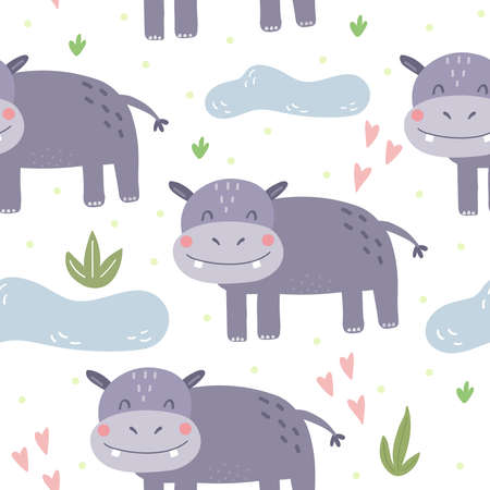 Cute little hippo cartoon style. Seamless pattern. Printable templates