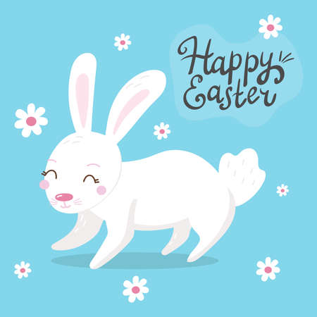 Happy Easter background with easter bunnies, lettering, and spring decorative elements. Cute cartoon design template Illustration