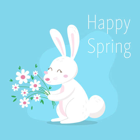Happy Easter background with easter bunnies and spring decorative elements. Cute cartoon design template