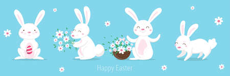 Cute hand drawn set with easter bunnies and spring decorative elements. Cute cartoon design template. Happy Easter background Illustration