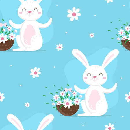 Seamless pattern with bunnies, and spring decorative elements. Cute cartoon design template. Happy Easter background Illustration
