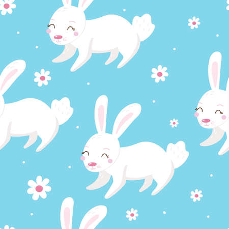Seamless pattern with bunnies. Cute cartoon design template. Happy Easter background