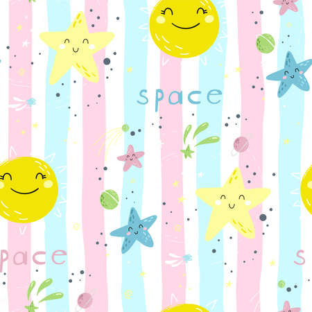 Seamless childish pattern with Cute cartoon moon, stars, comets and planet in the night sky. Good night vector pattern