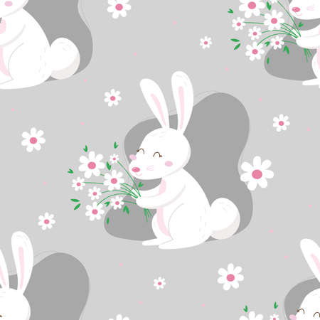Seamless pattern with bunnies and spring decorative elements. Cute cartoon design template. Happy Easter background