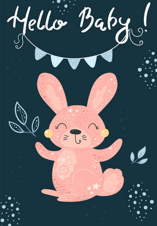 Greeting card cute cartoon Rabbit with flower on a blue background. Hello baby card