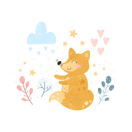 Greeting card cute cartoon fox with flower on a white background. Baby shower card. Vector print.