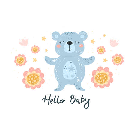 Greeting card cute cartoon bear with flower on a white background. Hello Baby card. Vector print.