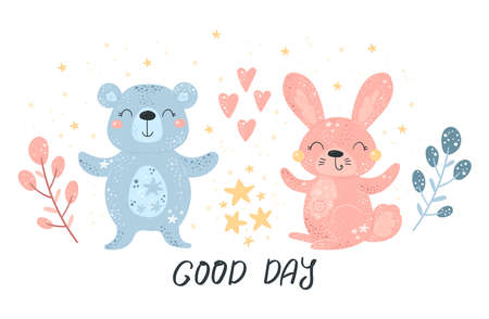 Greeting card cute cartoon Rabbit and bear with flower on a white background. Good day card