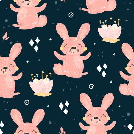 Seamless pattern with Cartoon characters Rabbit with flower on a blue background
