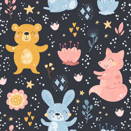 Seamless pattern with Cartoon characters fox, rabbit, bear and flower on a color background. Vector print.