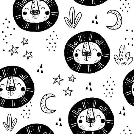 Seamless pattern with Cartoon characters scandinavian lion. Hand drawn seamless pattern with triangles on white background. For wrapping, surface design, wallpaper, greeting cards