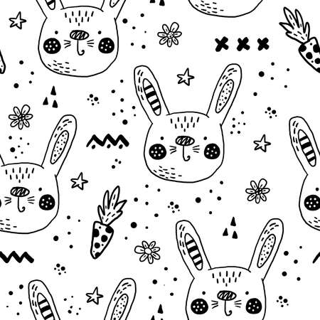 Seamless pattern with Cartoon characters scandinavian Rabbit. Hand drawn seamless pattern with triangles on white background. For wrapping, surface design, wallpaper, greeting cards