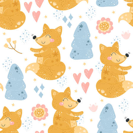 Seamless pattern with Cartoon characters fox with flower on a white background