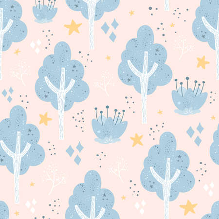 Seamless pattern with Cute cartoon tree print. Congratulatory card. Vector print. Illustration