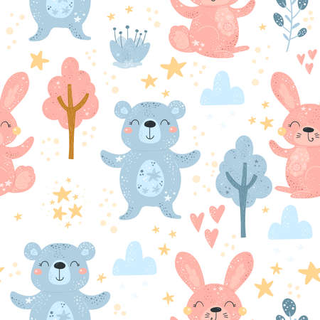 Seamless pattern with Cartoon characters bear, rabbit and flower. Vector print.