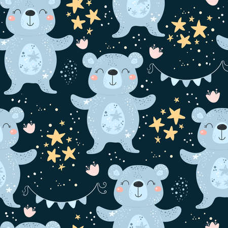 Seamless pattern with Cartoon characters bear and flower on a color background. Vector print.