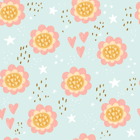 Seamless pattern with Cute flowe print. Congratulatory card. Vector print.