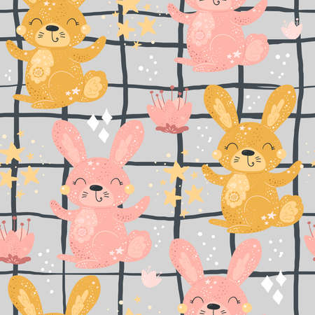 Seamless pattern with Cartoon characters Rabbit with flower on a color background Illustration