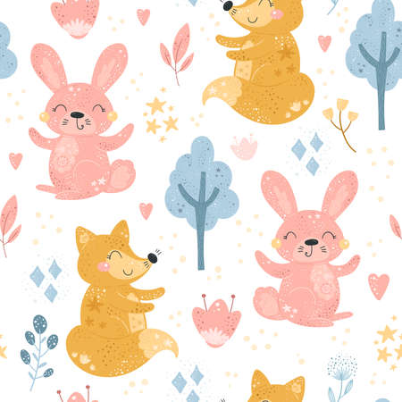 Seamless pattern with Cartoon characters fox, rabbit and flower. Vector print. Illustration