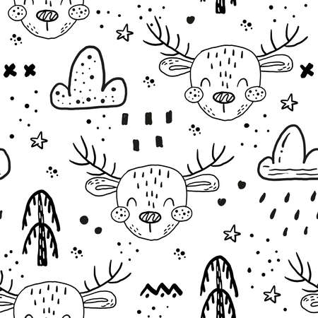 Seamless pattern with Cartoon characters scandinavian deer. Hand drawn seamless pattern with triangles on white background. For wrapping, surface design, wallpaper, greeting cards Illustration