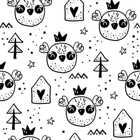 Seamless pattern with Cartoon characters scandinavian owl. Hand drawn seamless pattern with triangles on white background. For wrapping, surface design, wallpaper, greeting cards