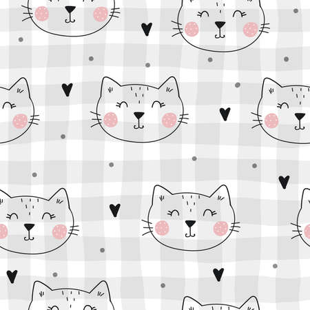 Seamless pattern with cute little cat. vector illustration. Vector print with kitten Illustration