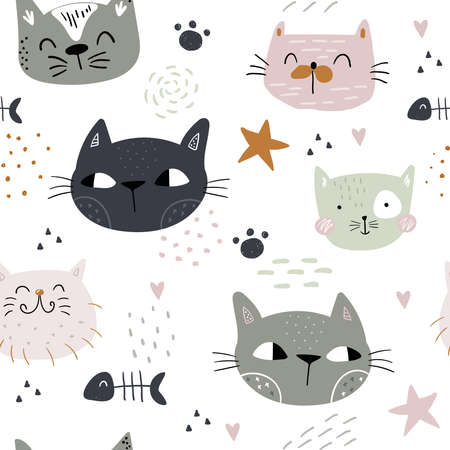 Seamless childish pattern with cute cats. Creative kids hand drawn texture for fabric, wrapping, textile, wallpaper, apparel. Vector illustration Stock Vector - 163028860