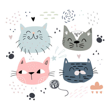 Cute hand drawn cat childish print. Childish print for apparel, nursery decoration, cards,posters, t-shirt. Vector Illustration