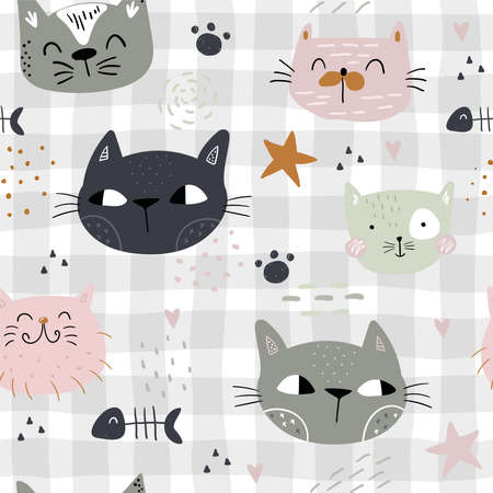 Seamless childish pattern with cute cats. Creative kids hand drawn texture for fabric, wrapping, textile, wallpaper, apparel. Vector illustration