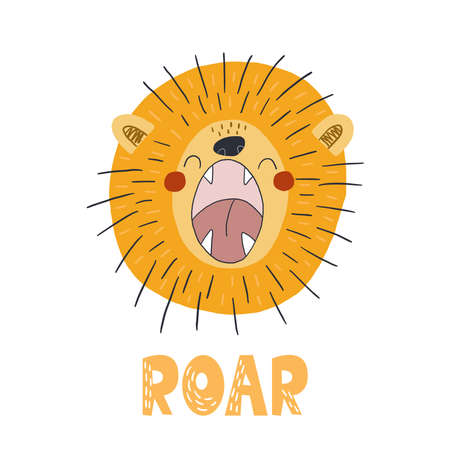 Funny cute scandinavian lion cartoon style. Vector print with lion. Printable templates. vector print. Perfect for kids apparel, poster, baby shower card. Vector illustration Illustration