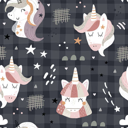 Seamless pattern with cute fairy unicorns heads. Perfect for kids apparel,fabric, textile, nursery decoration,wrapping paper.Vector Illustration. Creative childish background. Illustration