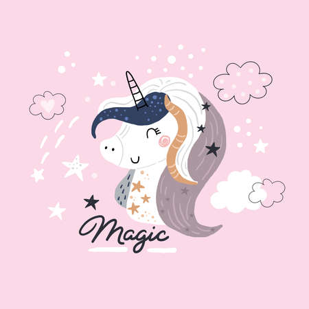 Cute childish print with unicorn. Perfect for kids apparel, poster, baby shower card. Vector illustration
