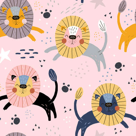 Hand drawn seamless pattern. Funny cute scandinavian lion cartoon style.Printable templates. vector print. Perfect for kids apparel, poster, baby shower card. Vector illustration Illustration