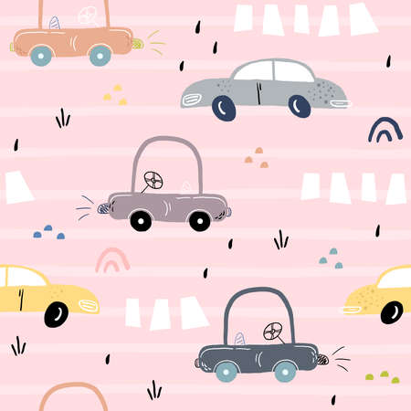 seamless pattern with retro cartoon car. vector print. Perfect for kids fabric,textile,nursery wallpaper. Printable templates.