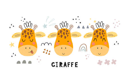 Funny cute scandinavian giraffe cartoon style. Vector print with giraffe. Printable templates. vector print. Perfect for kids apparel, poster, baby shower card. Vector illustration