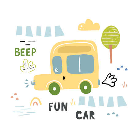 Cute childish print with hand drawn cute car. Cartoon cars, road sign, zebra crossing vector illustration. Perfect for kids fabric,textile,nursery wallpaper