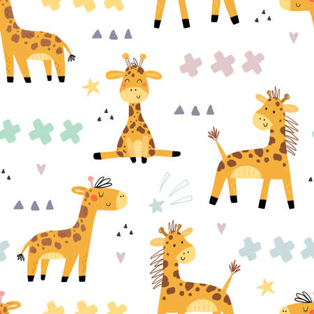 Cute giraffe Pattern print for kids. Funny cute scandinavian giraffe cartoon style. Printable templates. vector print. Perfect for kids apparel, poster, baby shower card. Vector illustration
