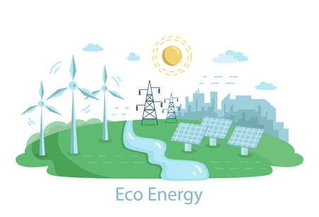 Renewable Power Sources with Windmills.. Alternative Clean Energy Concept with Wind Turbines and Solar Panels. Vector flat illustration Vektorgrafik