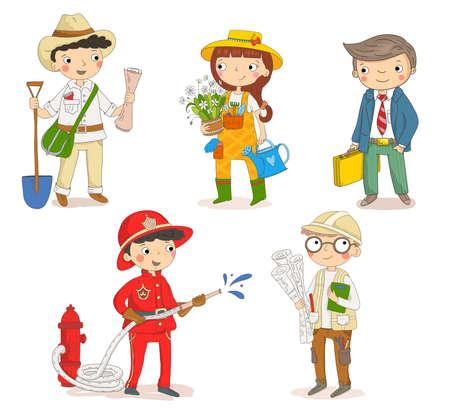 Set of children characters. Firefighter, gardener, businessman, archaeologist, engineer. Kids workers. Child professional.