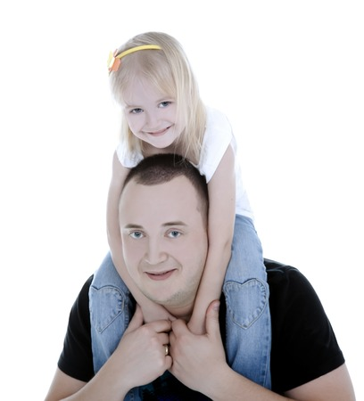 tenderness: Daughter is sitting on dad and holding him neck tenderness.