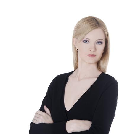 slavic: Businesswoman Slavic type in black blouse. Stock Photo