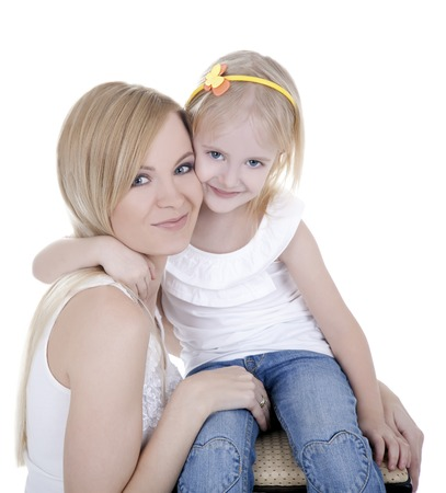 pleasant emotions: The most pleasant emotions between mother and daughter:   love, tenderness, affection, caring. Stock Photo