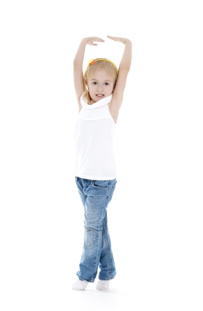 tiptoes: Funny little girl show us as she grow up. Stock Photo