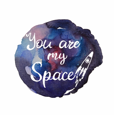 Space watercolor and inscription
